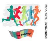 watercolor running people. set... | Shutterstock . vector #436079053