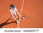 tennis talent preparing to serve | Shutterstock . vector #436085977