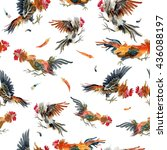 watercolor chicken pattern... | Shutterstock . vector #436088197
