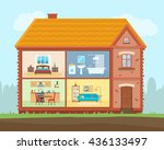 house in cut. detailed modern... | Shutterstock .eps vector #436133497