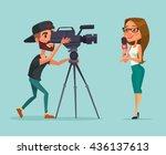 journalists. woman reporter.... | Shutterstock .eps vector #436137613