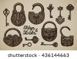vintage keys and locks. open... | Shutterstock .eps vector #436144663