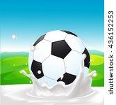 soccer ball in milk splash on... | Shutterstock .eps vector #436152253