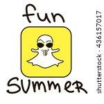 fun summer. happy monster monster in sunglasses for t-shirt. vector, snapchat, selfie using smartphone. Selfie icon