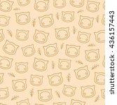 cute cats pattern beige | Shutterstock .eps vector #436157443