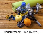 fitness concept with dumbbells  ... | Shutterstock . vector #436160797