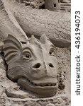 dragon sand sculpture with blue ... | Shutterstock . vector #436194073