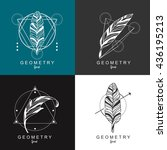 feather logo design with...   Shutterstock .eps vector #436195213