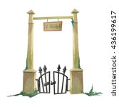 gate to the old cemetery hacked.... | Shutterstock .eps vector #436199617