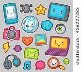 kawaii gadgets social network... | Shutterstock .eps vector #436227283