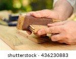 carpenter hands at work with...   Shutterstock . vector #436230883