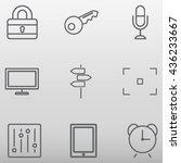set of technology thin line... | Shutterstock .eps vector #436233667