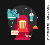 movie concept flat style vector ... | Shutterstock .eps vector #436237297