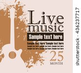 banner with an acoustic guitar... | Shutterstock .eps vector #436237717