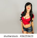 beautiful sexy glamorous girl... | Shutterstock . vector #436253623