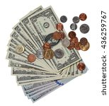 Fan Shaped Banknotes And Coins...