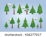 low poly conifer trees set for... | Shutterstock .eps vector #436277017