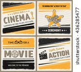 four square cinema icon set in... | Shutterstock .eps vector #436285477