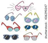 set of funny retro sunglasses | Shutterstock .eps vector #436290247