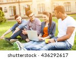 happy young students are... | Shutterstock . vector #436292617
