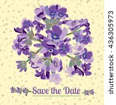 greeting card with lavender... | Shutterstock .eps vector #436305973