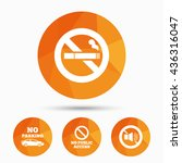 stop smoking and no sound signs.... | Shutterstock .eps vector #436316047