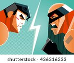 good versus evil. superhero.... | Shutterstock .eps vector #436316233