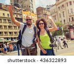 euphoric happy couple of... | Shutterstock . vector #436322893