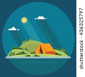 morning landscape in the... | Shutterstock .eps vector #436325797