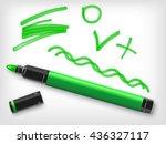 green marker pen  check sign ... | Shutterstock .eps vector #436327117