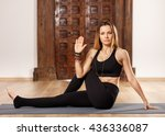 woman yoga trainer in ardha... | Shutterstock . vector #436336087