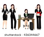 women   office employee working ... | Shutterstock .eps vector #436344667