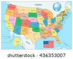 highly detailed political map... | Shutterstock .eps vector #436353007