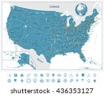 highly detailed map of united... | Shutterstock .eps vector #436353127