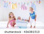 newborn child on a pile of... | Shutterstock . vector #436381513