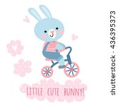 cute bunny riding a bicycle.... | Shutterstock .eps vector #436395373