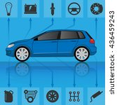 infographic template with car.... | Shutterstock .eps vector #436459243