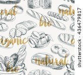 vector bread retro seamless... | Shutterstock .eps vector #436479817