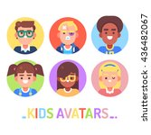 kids different avatars on white.... | Shutterstock .eps vector #436482067