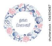 vector frame with seashells ... | Shutterstock .eps vector #436504087