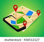 mobile gps navigation map and...   Shutterstock .eps vector #436512127