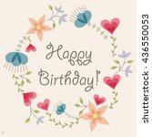vector flowers and hearts frame ... | Shutterstock .eps vector #436550053