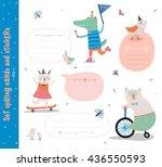 set of birthday cards  gift... | Shutterstock .eps vector #436550593