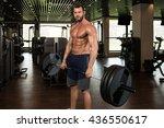 young bodybuilder doing heavy... | Shutterstock . vector #436550617