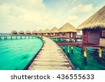 beautiful tropical maldives... | Shutterstock . vector #436555633