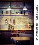 retro hipster cafe restaurant... | Shutterstock . vector #436566067