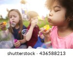 blowing the bubbles with my...   Shutterstock . vector #436588213