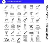 36 linear construction icons... | Shutterstock .eps vector #436596907