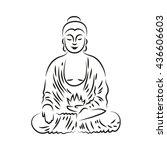 vector buddha  in line hand... | Shutterstock .eps vector #436606603