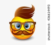 cute hipster emoticon wearing... | Shutterstock .eps vector #436614493
